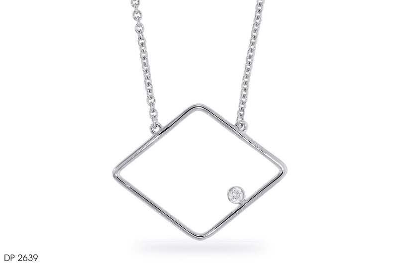 18k Gold Square Hoop Diamond Pendant