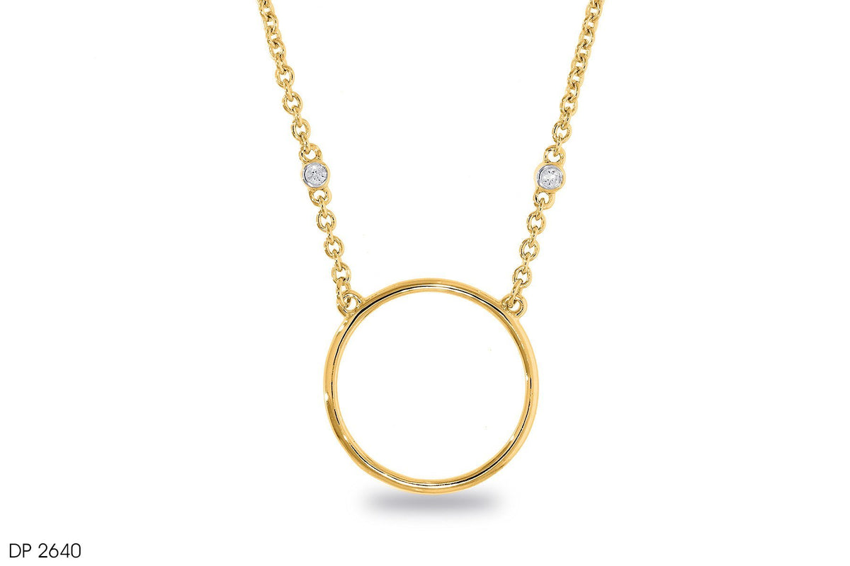 18k Gold Closed Hoop Diamond Pendant