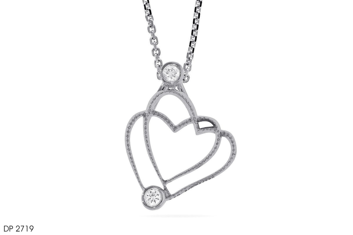 18k Gold Mingling Hearts Diamond Pendant