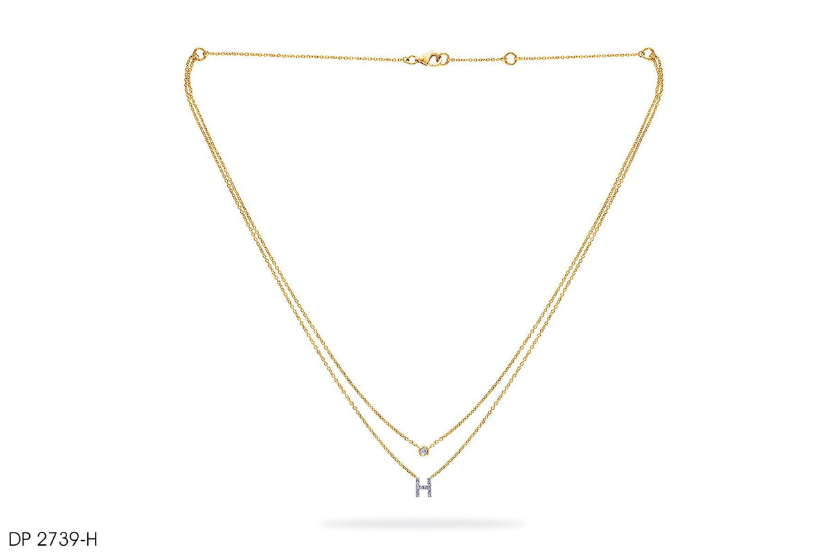 18k Gold Small 'H' Letter Diamond Pendant