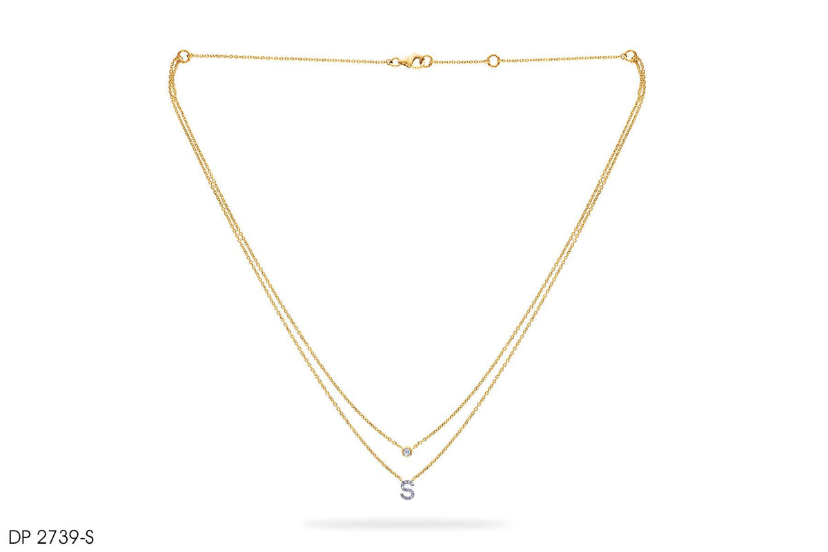 18k Gold 'S' Letter Diamond Pendant
