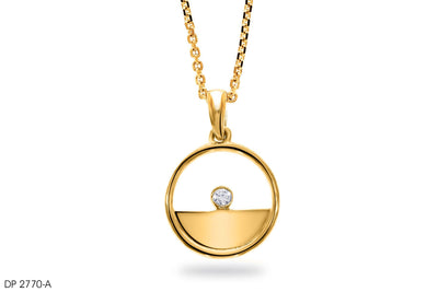 18k Gold Floating Diamond Pendant