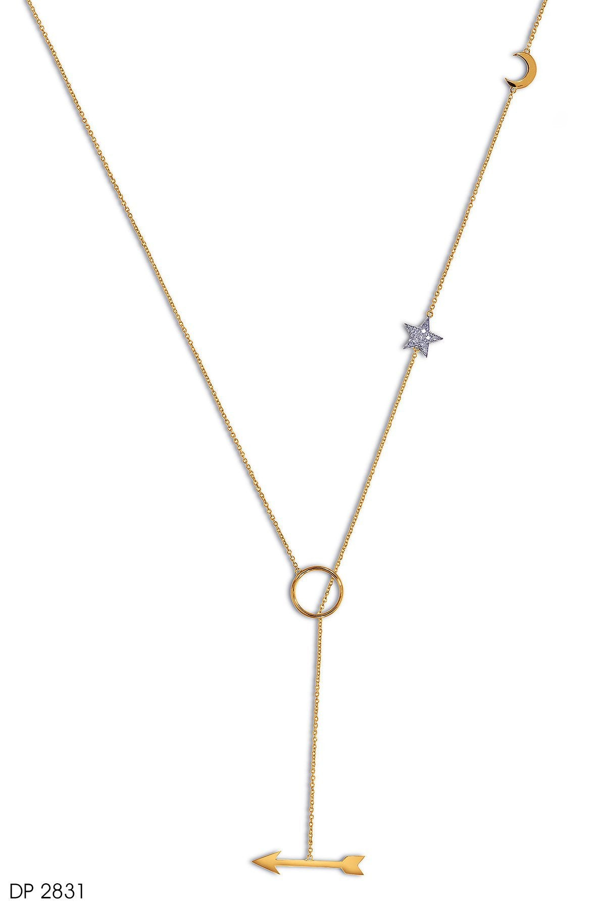Arrow Shaped Diamond Pendant In 18k Gold