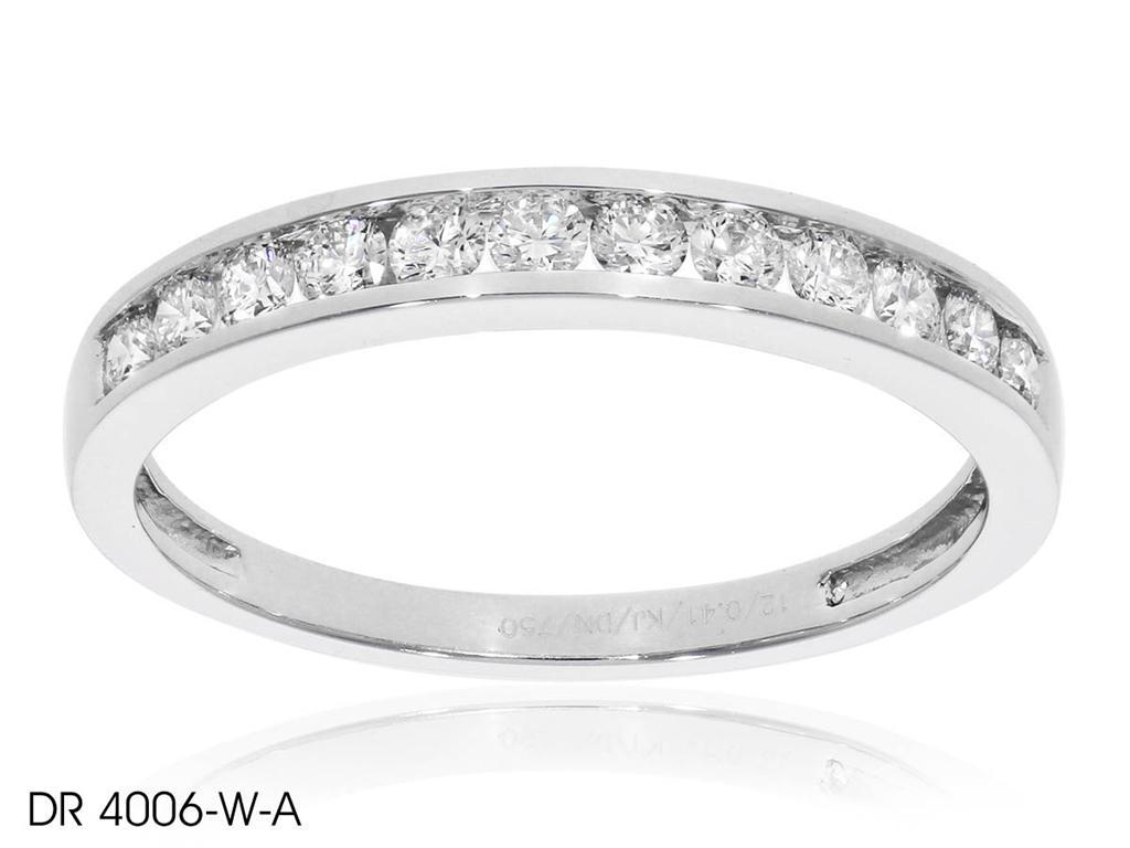 Dainty Round Diamond Wedding Band In 18k White Gold