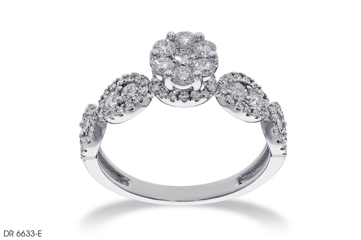 Multiple Diamond Brooch Engagement Ring