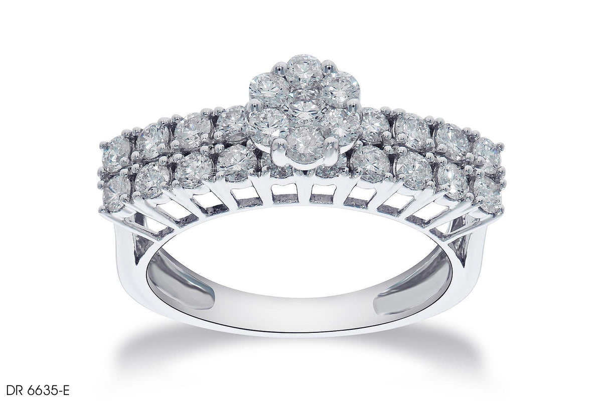 Round Diamond Cluster Engagement Ring