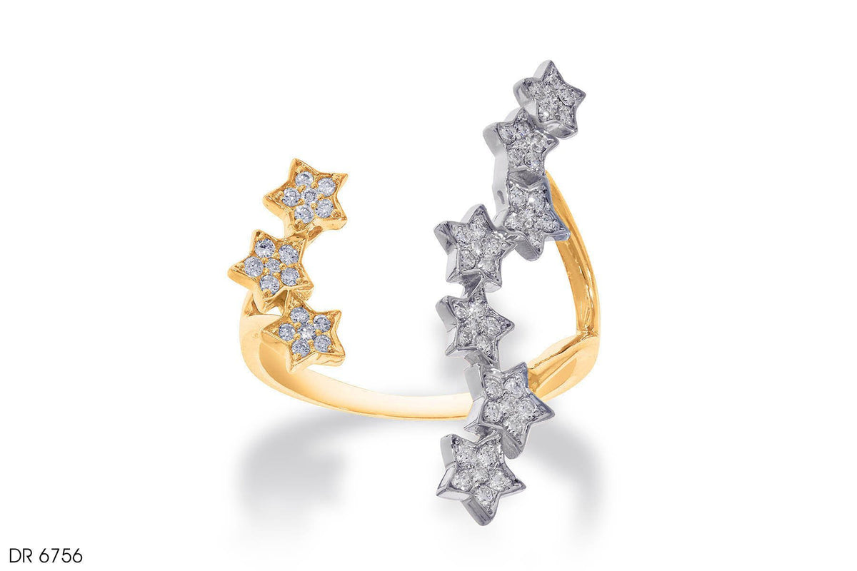 Twinkling Stars Diamond Ring In 18K Gold
