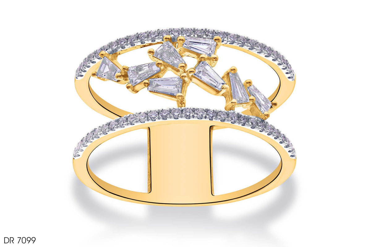 Shimmering Stars Diamond Ring In 18k Gold