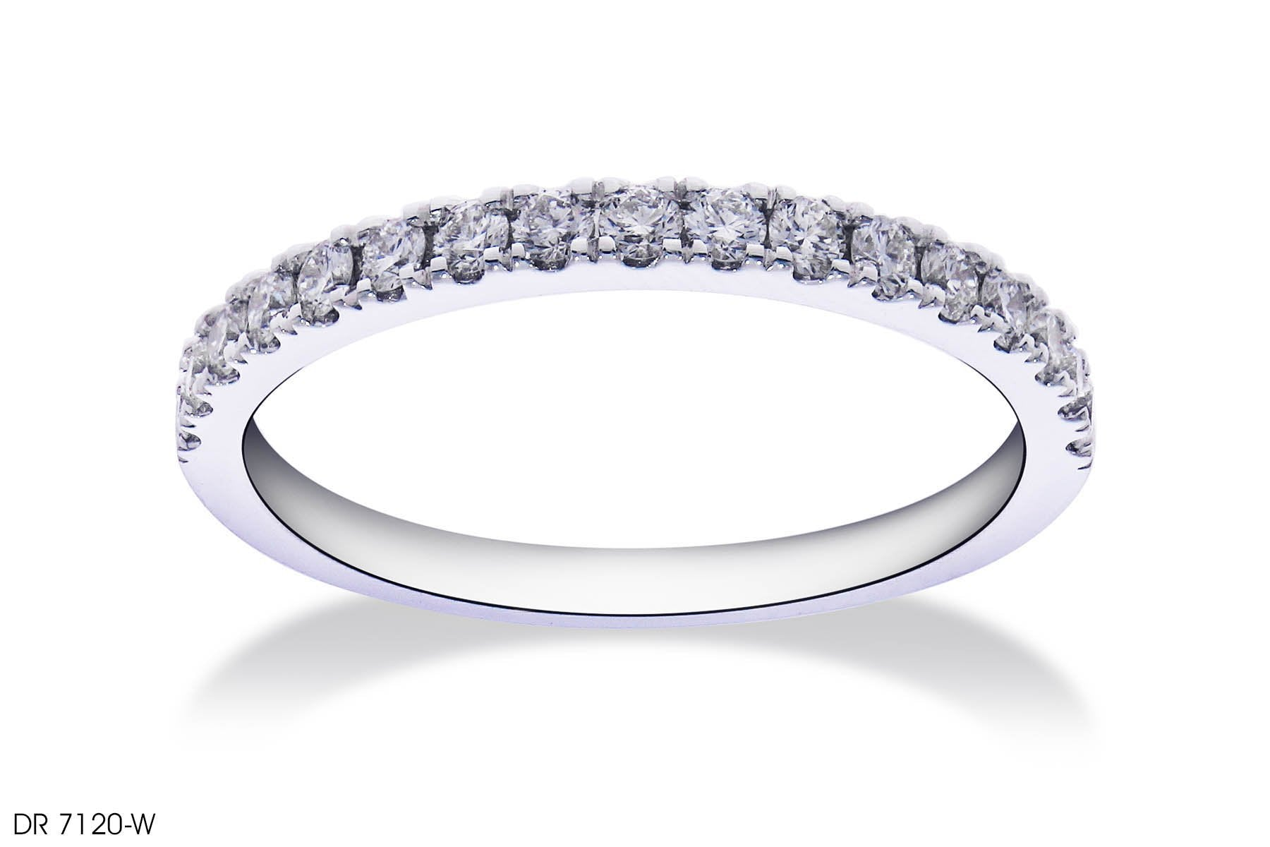 Melee Diamond Wedding Band in 18k White Gold