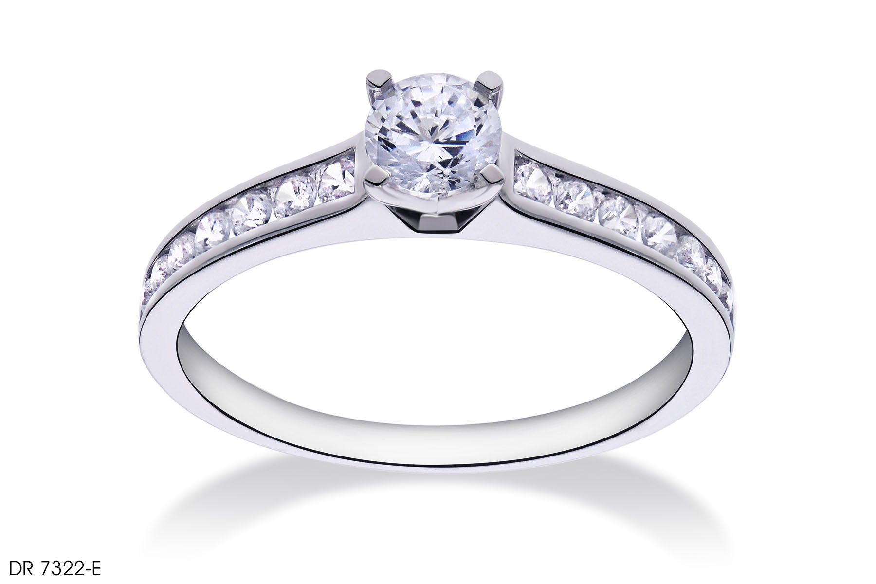 Channel Set Pave Diamond Engagement Ring