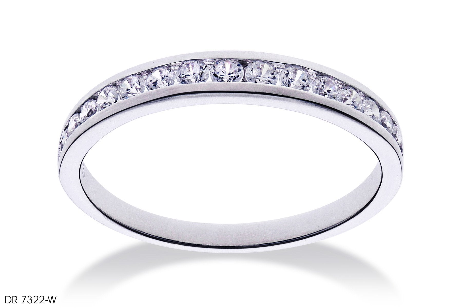 Channel Setting Diamond Wedding Band in 18k White Gold