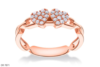 Intimate Diamond Hearts Gold Ring