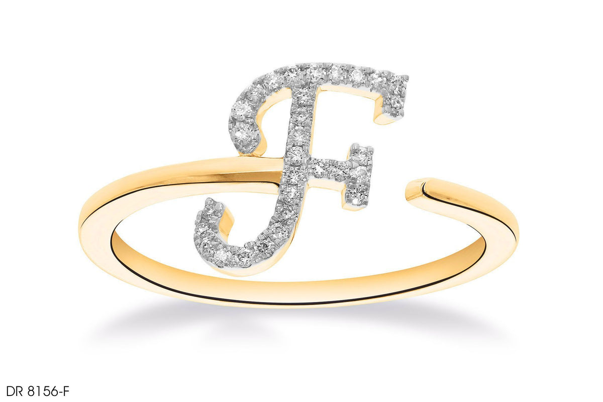 F Letter Pave Diamond Ring In 18k Gold