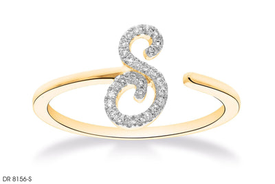 18k Gold S Letter Diamond Ring