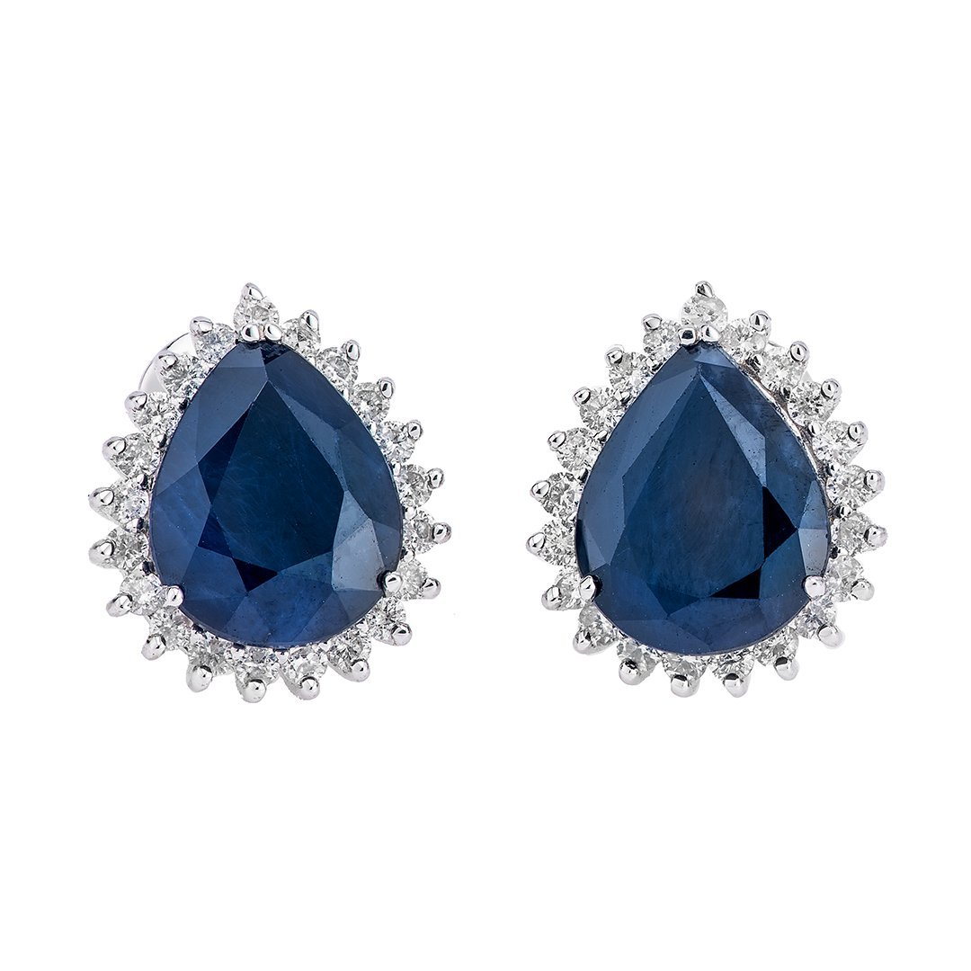 Pear-Shaped Blue Sapphire Diamond Earring