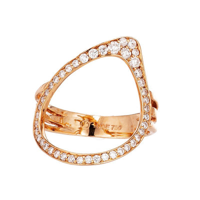 Stylish Split Shank Accent Diamonds Ring In Gold