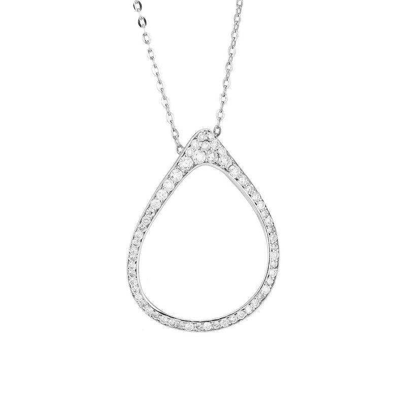 Elegant Hoop Diamond Pendant In 18k Gold
