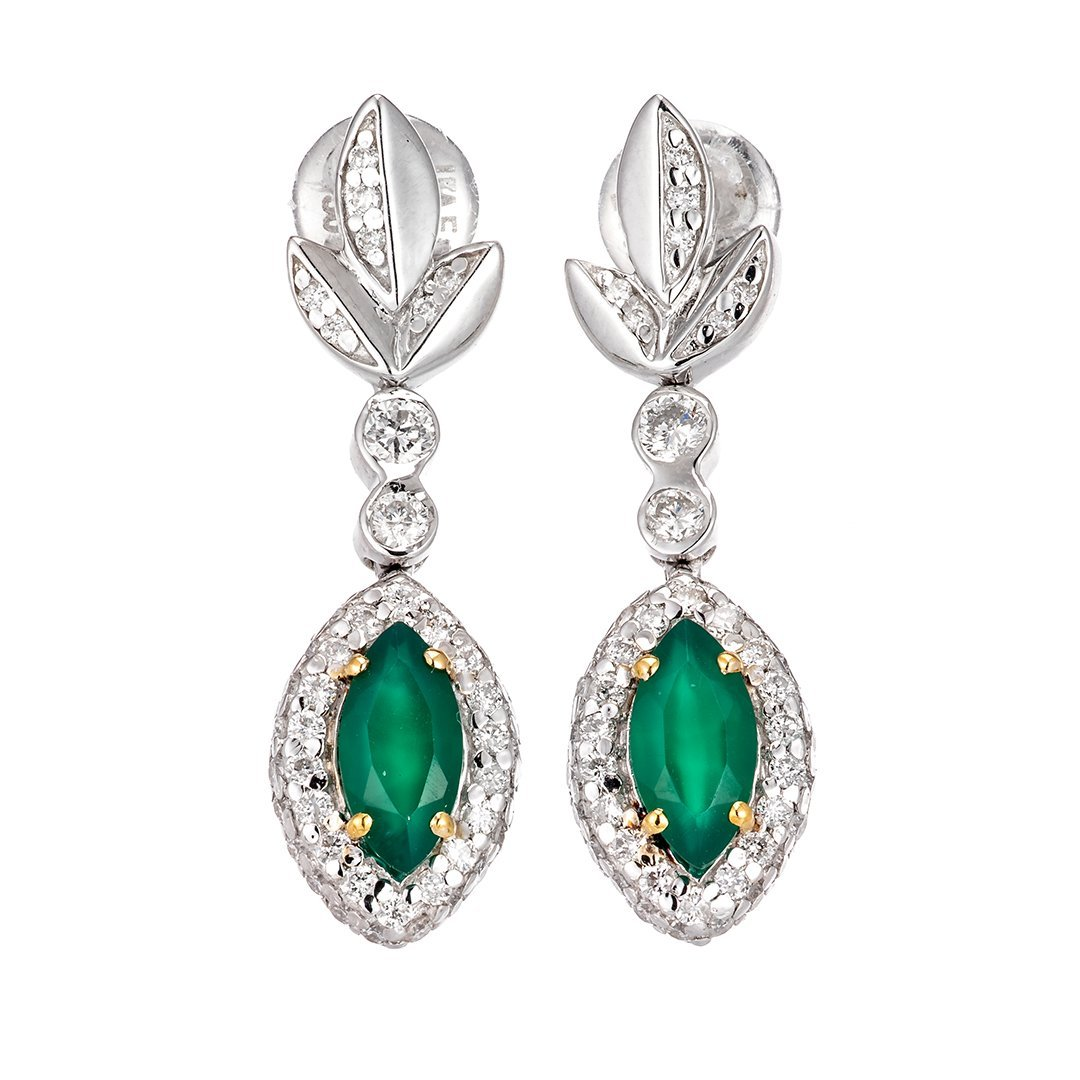 Lustrous Gemstone Diamond Earring In 18k White Gold