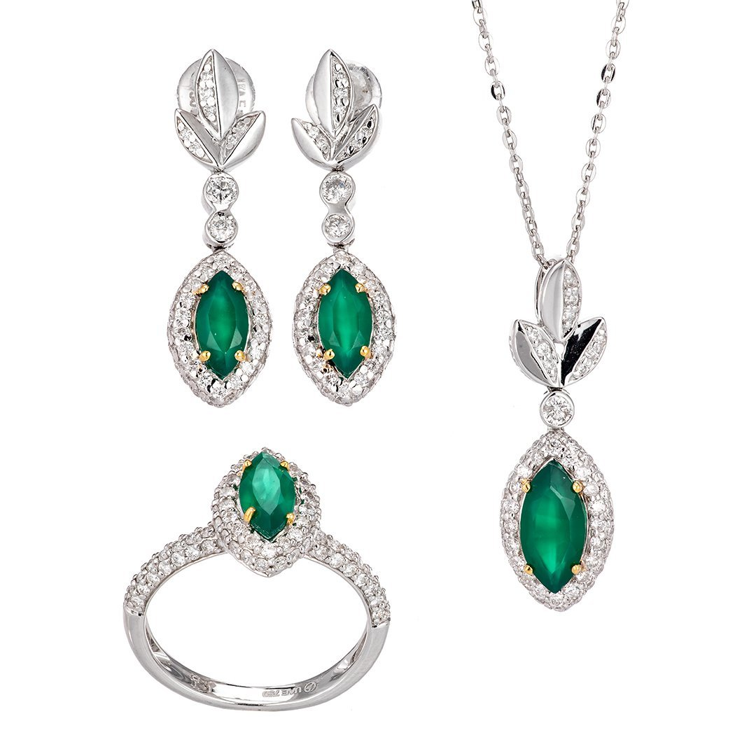 Gemstone Halo Set Diamond Half-Set In 18K White Gold