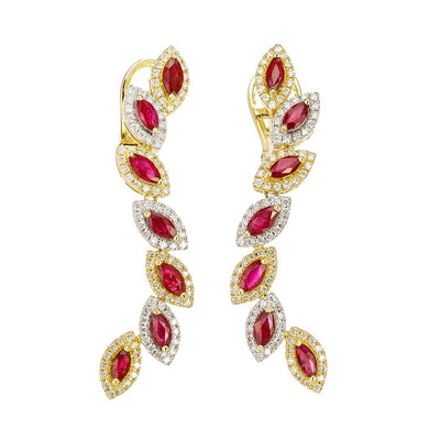 Rose Petals Diamond Earring In Gold