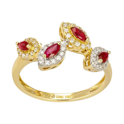 Pink Ruby Halo-Set Diamond Ring In Gold