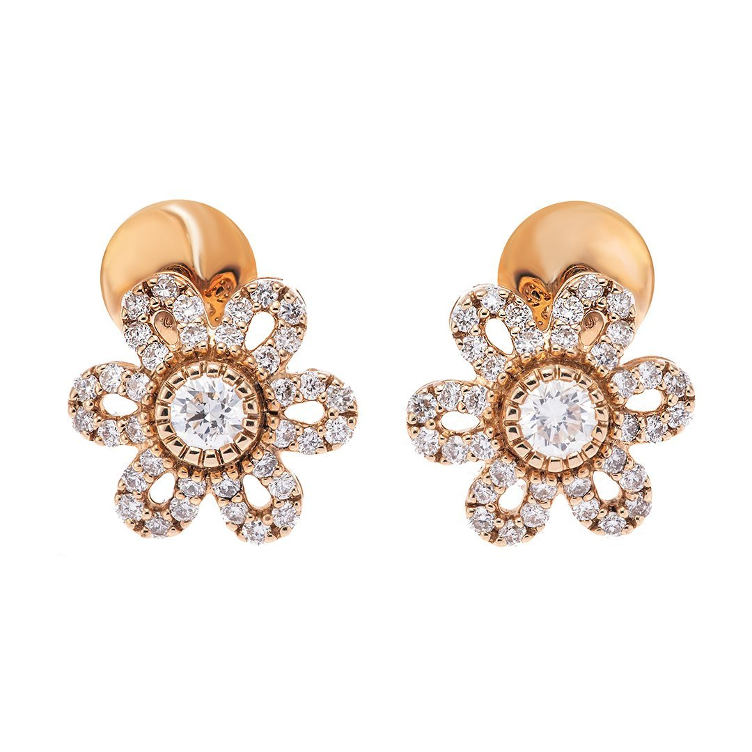 Lilac Flower Diamond Earring In Gold