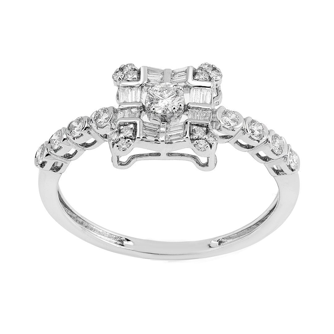 Alluring Baguette Diamond Engagement Ring