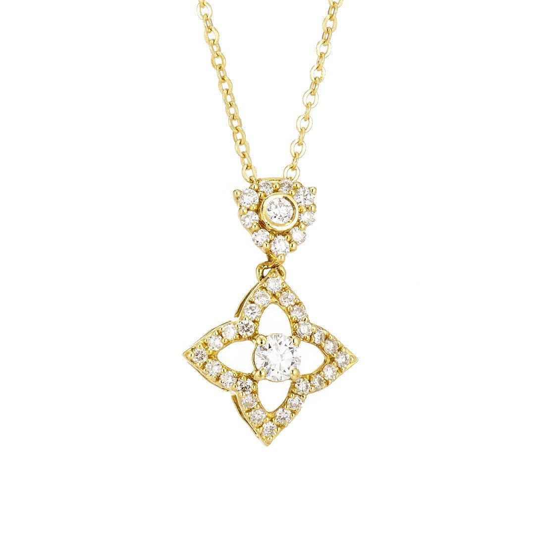 Star-Shaped Accent Diamond Pendant In 18k Gold