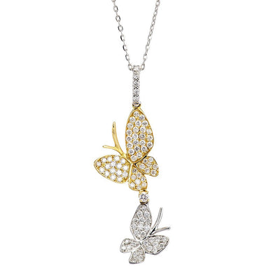 Alluring Butterfly Diamond Pendant In 18k Gold