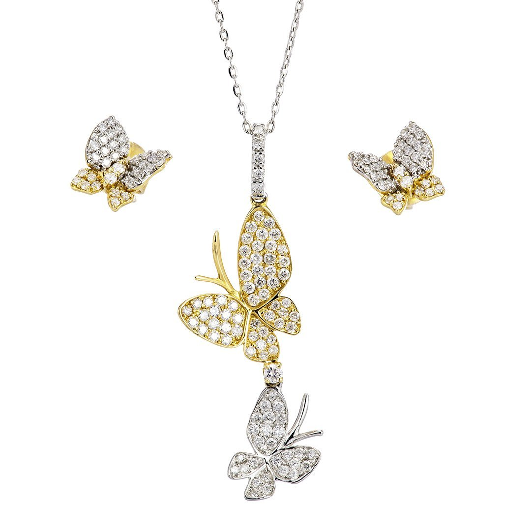 Butterfly Composite Diamond Half-Set In 18K Gold