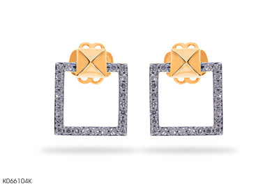 Diamond Frame Of Life Gold Earrings - Jeem Noon