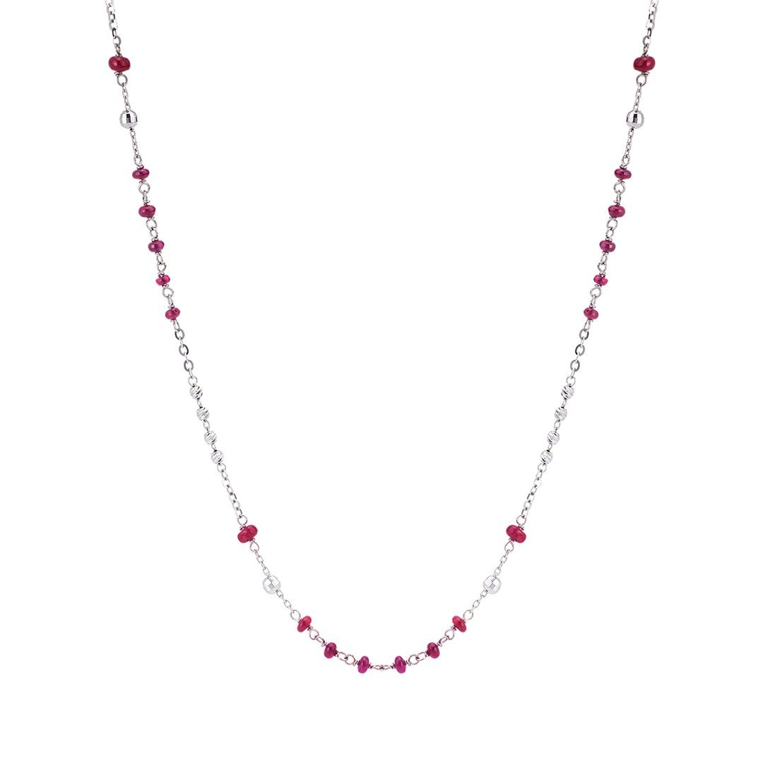 Beaded Ruby & Diamond Necklace In 18k White Gold