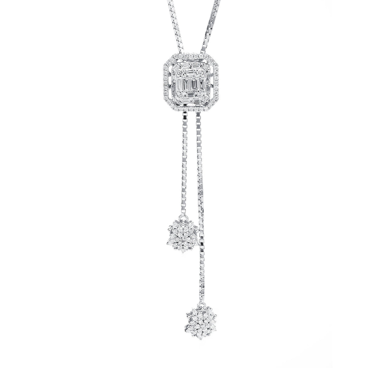 Hanging Diamond Clusters Pendant In White Gold