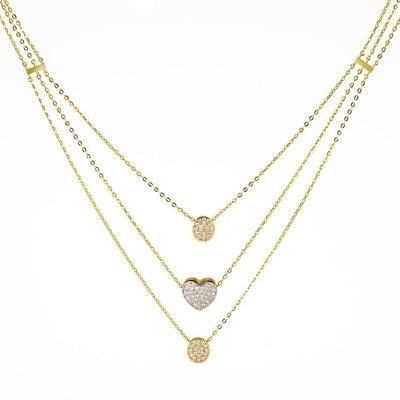 Heart-Shaped Accent Diamond Pendant In 18k Gold