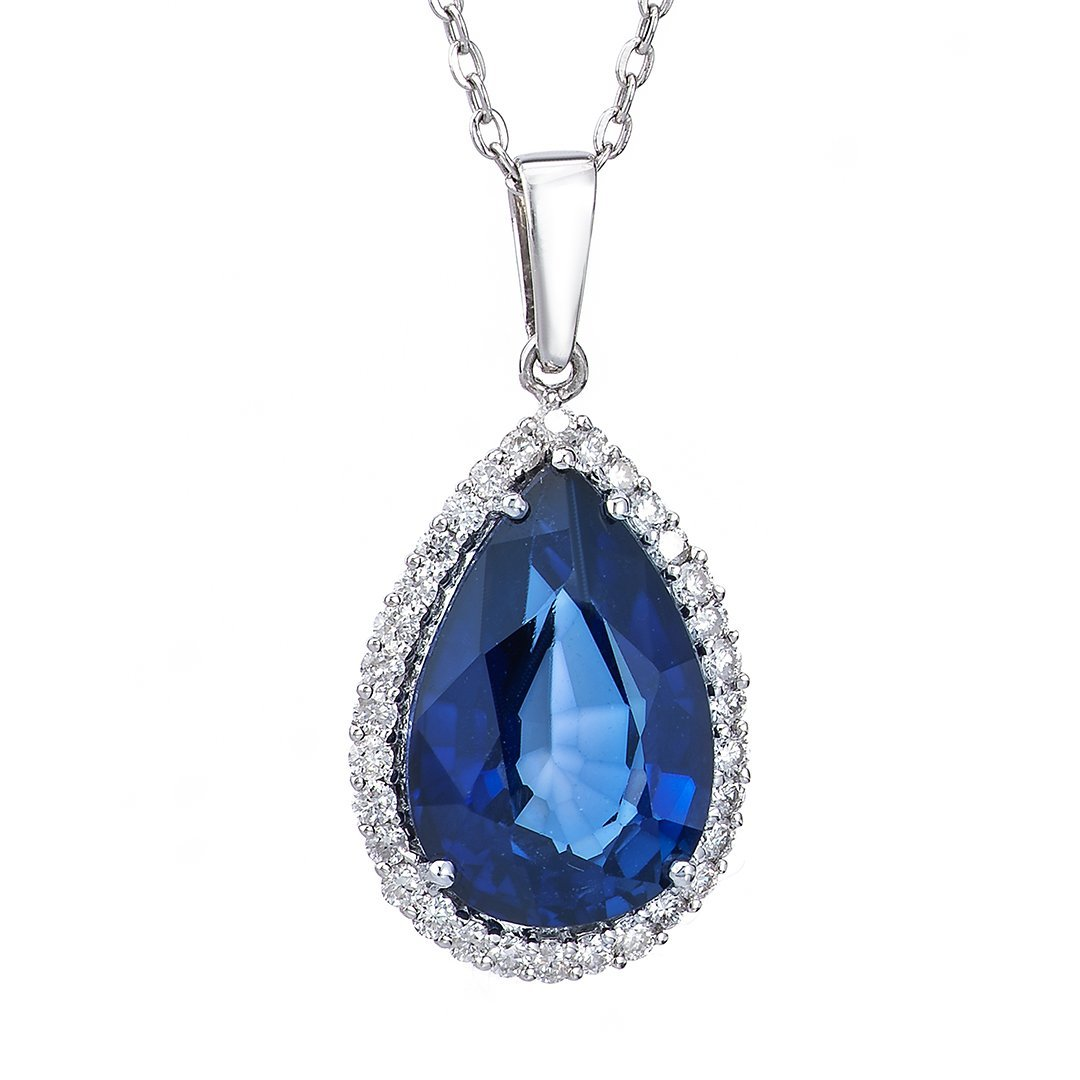 Gemstone Halo Set Diamond Pendant