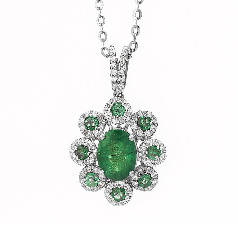 Gemstone Accent Diamond Pendant
