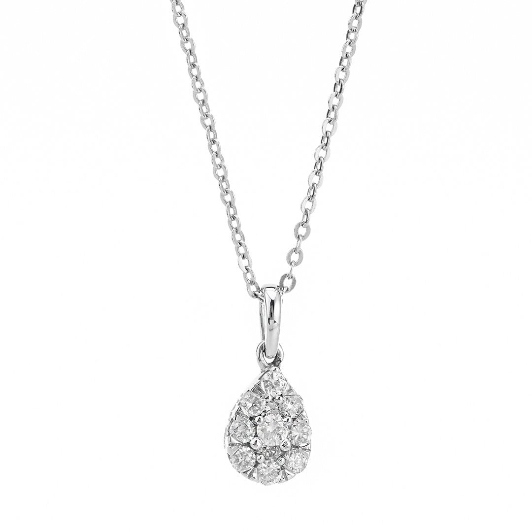 Pear-Shaped Diamond Cluster Pendant In 18K White Gold
