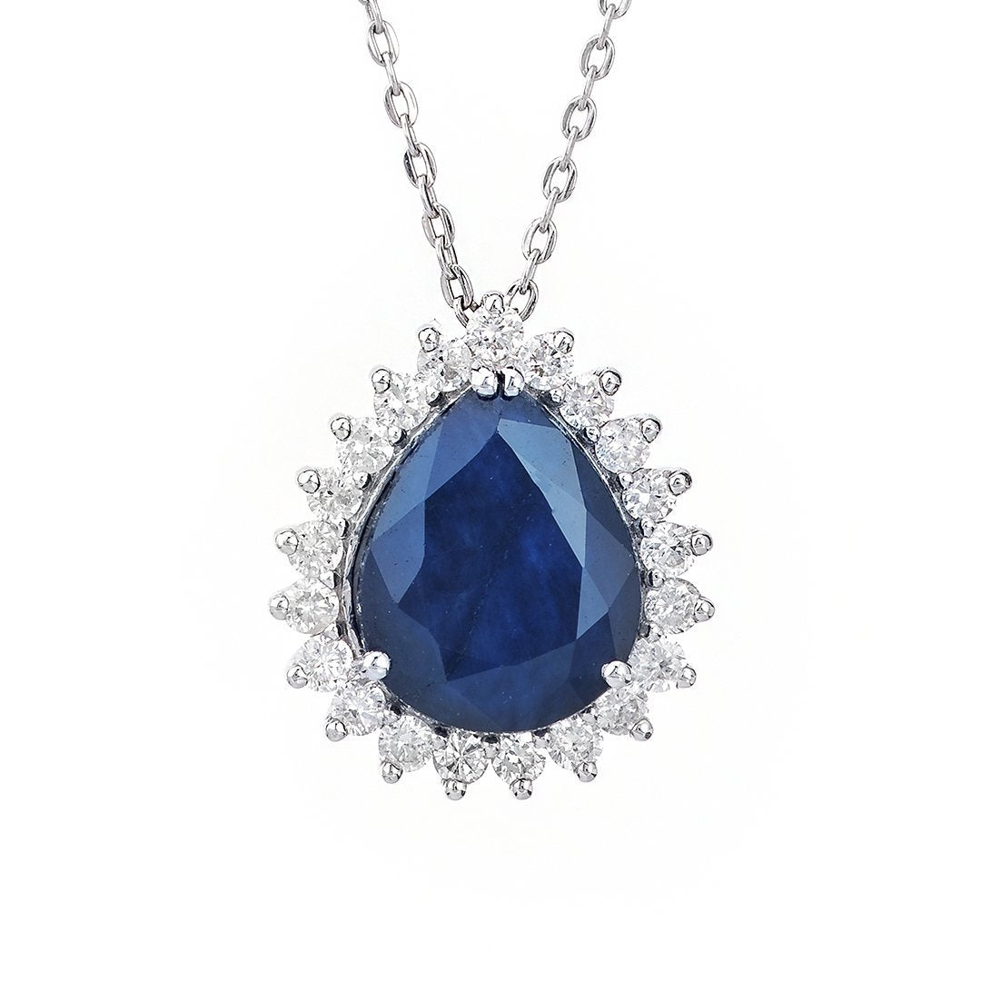 Pear-Shaped Gemstone Diamond Pendant In White Gold
