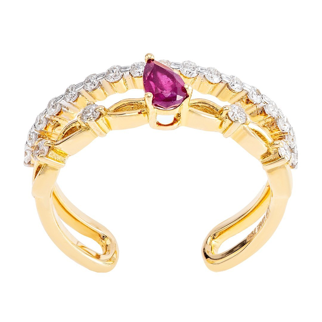 Birthstone Accent Diamonds Ring In 18K Gold