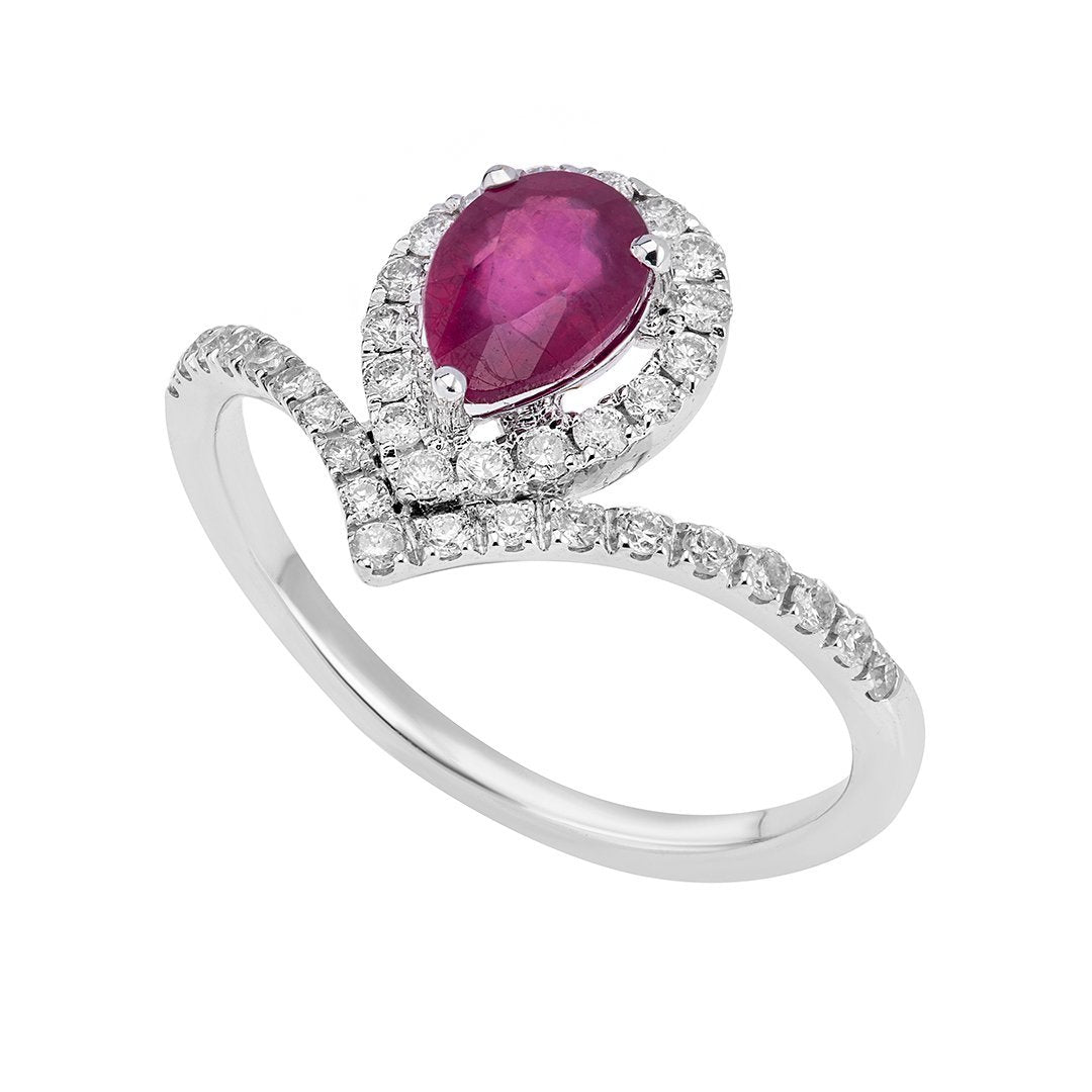 Petite Pear-Shaped Ruby Diamond Ring