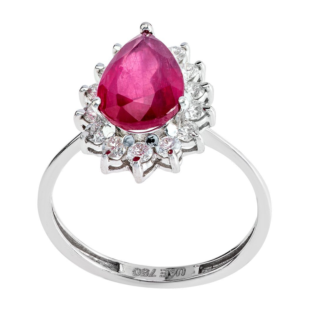 Drop-Shaped Ruby Diamond Accent Ring In White Gold