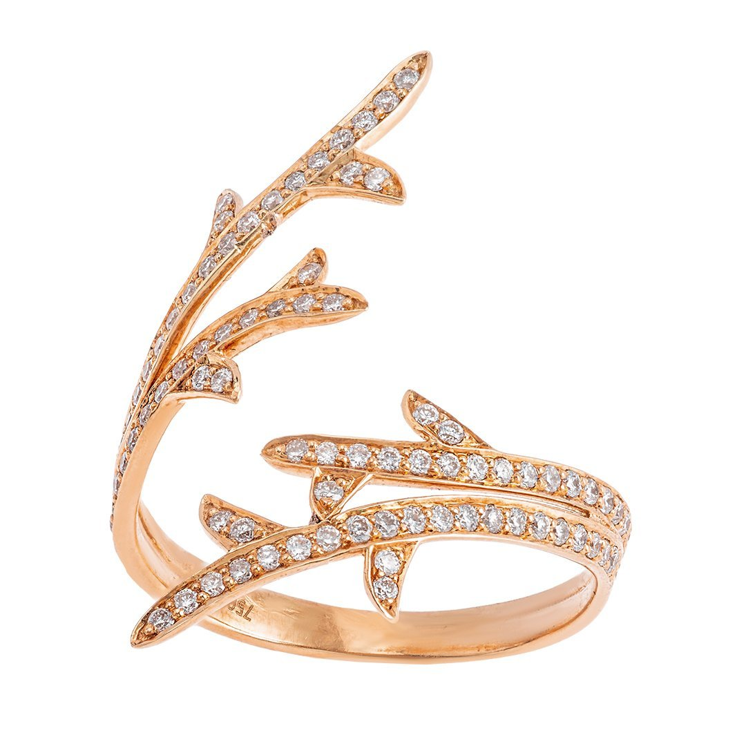 Stylish Split Shank Accent Diamonds Ring In 18K Gold
