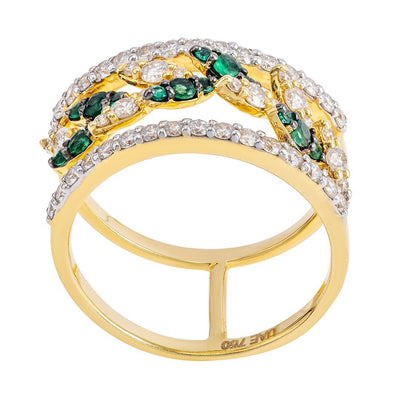 Double Shank Gemstone Diamond Ring In Gold