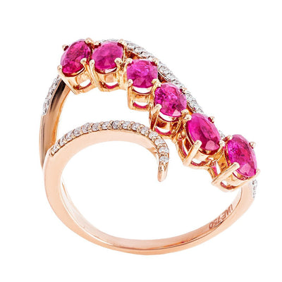 Round Birthstone Wave Diamond Ring In Gold