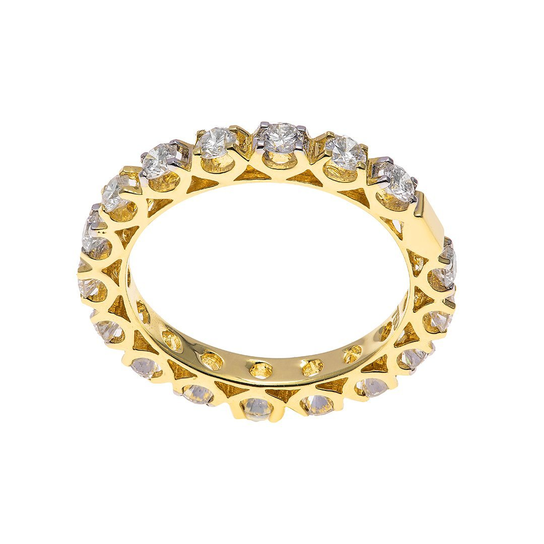 Basket Set Band Diamond Ring In Gold