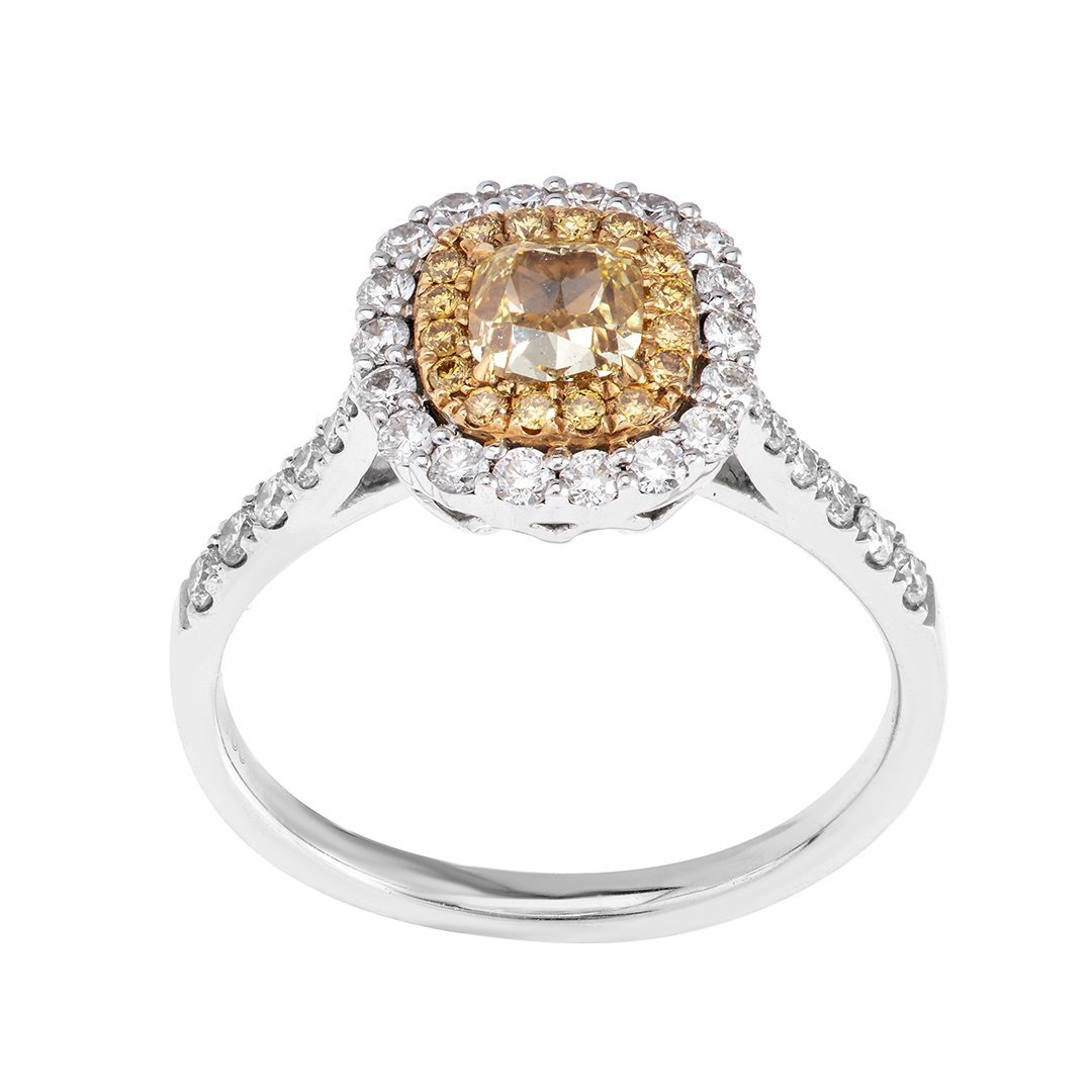 Voguish Halo Set Yellow Diamond Ring In 18K Gold
