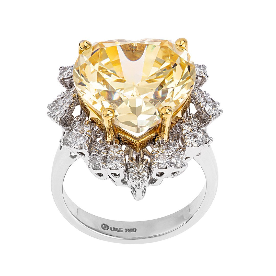 Heart-Shaped Yellow Diamond Ring In 18K White Gold