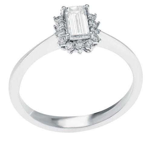 Emerald-Cut Diamond Pre-Engagement Ring In 18K White Gold