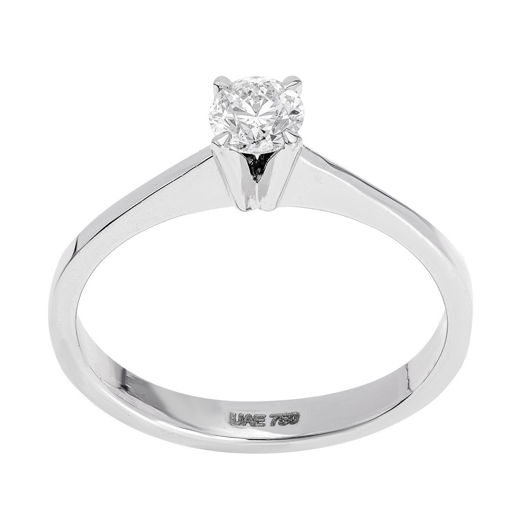 Round Diamond Solitaire Engagement Ring In 18K White Gold