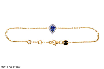 Blue Teardrop Gemstone Gold Bracelet - Jeem Noon
